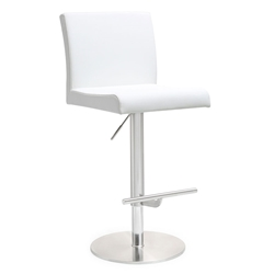 Detleff White Adjustable Armless Modern Stool