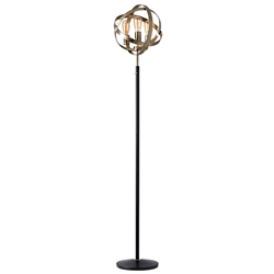 Detroit Modern Antique Brass Floor Lamp