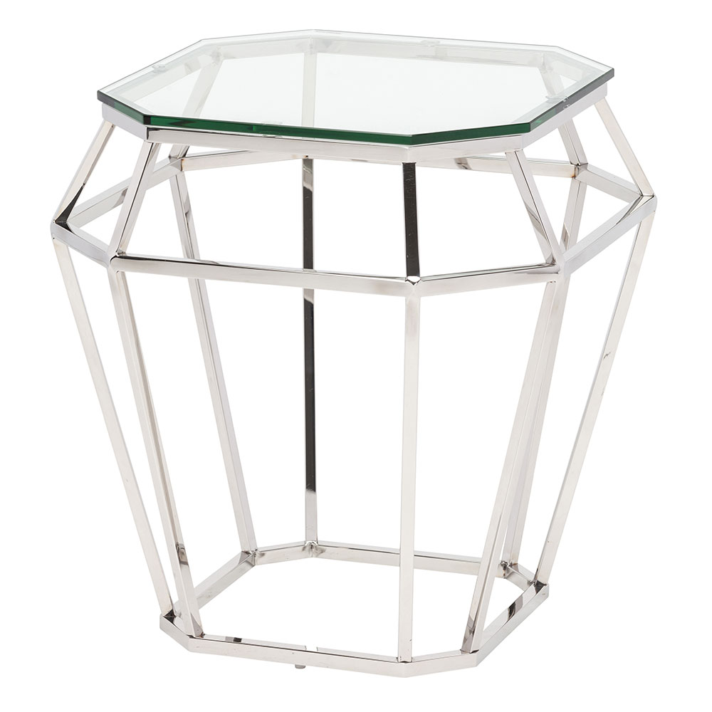 Devers Polished Steel + Clear Glass Modern End Table