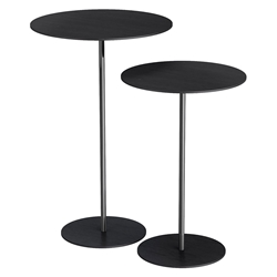 Dey Black Oak + Polished Steel Modern Nesting Side Tables by Modloft Black