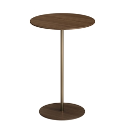 Dey Short Modern Side Table in Walnut Wood and Polished Gold Steel by Modloft Black