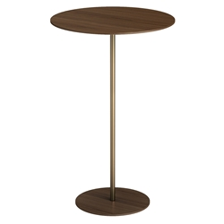 Dey Tall Modern Side Table in Walnut Wood and Polished Gold Steel by Modloft Black
