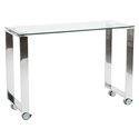 Didier Modern Glass + Polished Steel Return Desk