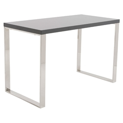 Dillon Modern Gray and Stainless Steel Desk