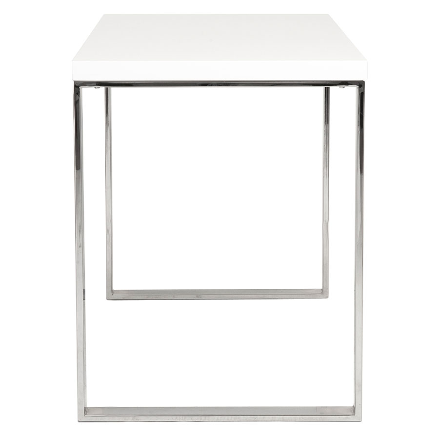 diesel modern white and stainless steel desk side view