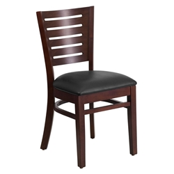 Digby Modern Dining Side Chair in Walnut Wood and Black Vinyl