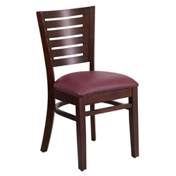 Digby Modern Dining Side Chair in Walnut Wood and Burgundy Vinyl