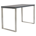 Dillon Matte Gray Lacquer + Brushed Stainless Steel Modern Desk