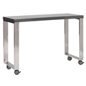 Dillon Gray Lacquer + Polished Steel Modern Mobile Desk Return