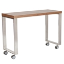 Dillon Walnut Veneers + Brushed Stainless Steel Modern Mobile Desk Return