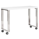Dillon White Lacquer + Polished Steel Modern Mobile Desk Return