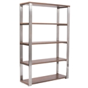 Dillon Modern Walnut + Stainless Steel Shelving Unit