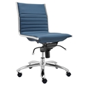 Dirk Modern Blue Armless Low Back Office Chair by Euro Style