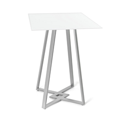 Dirk White Glass + Metal Modern Counter Height Table by Amisco