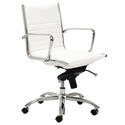 Dirk Modern White Low Back Office Chair by Euro Style
