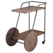 Distrikt Modern Industrial Bar Cart in Smoked Oak Wood and Black Cast Iron Metal