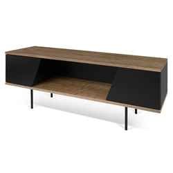 Dixie Walnut + Black Modern TV Stand