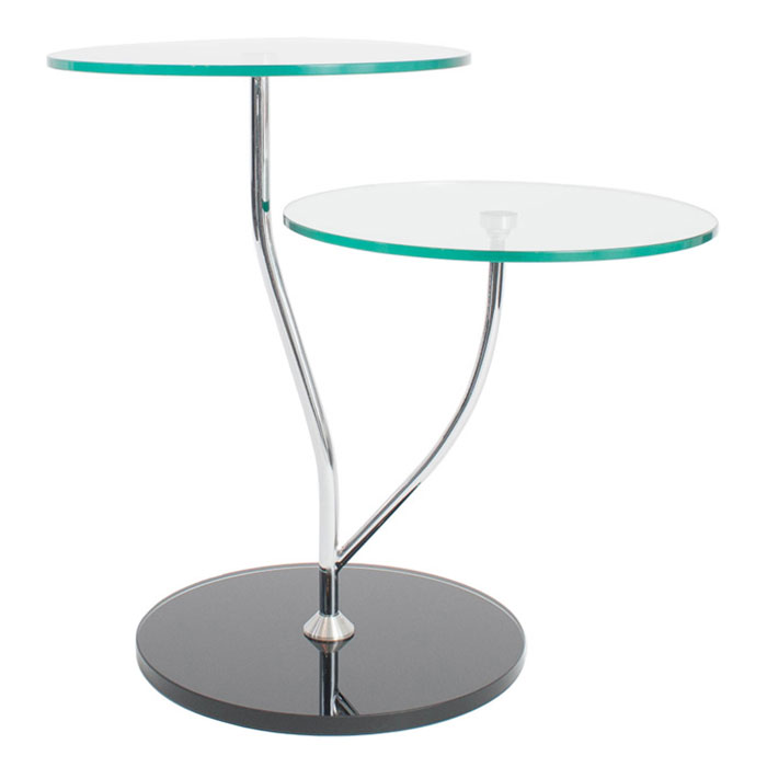 dixon modern side table w black glass base