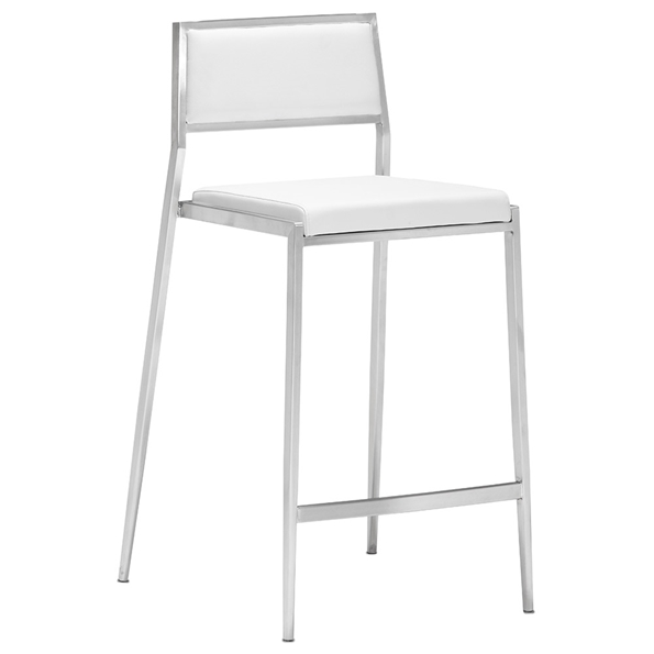 Dolemite Modern White Counter Stool by Zuo