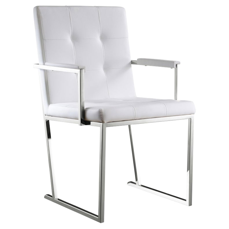 Dolores White Contemporary Dining Armchair