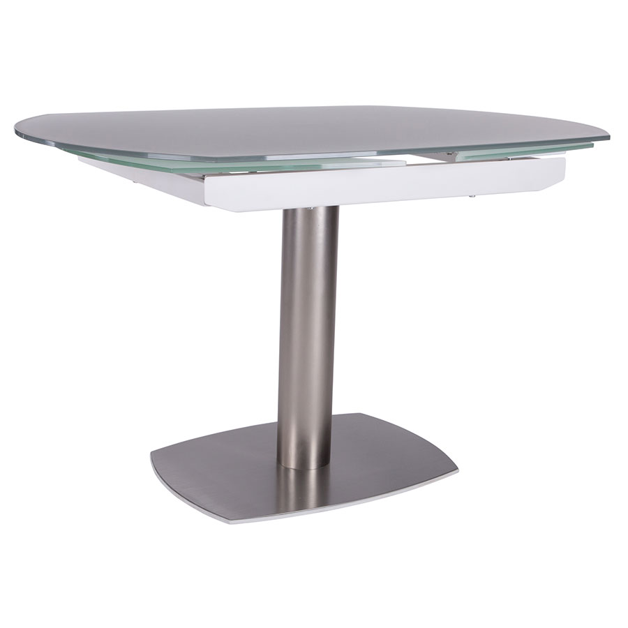 Domingo Brushed Steel White Glass Modern Extension Dining Table