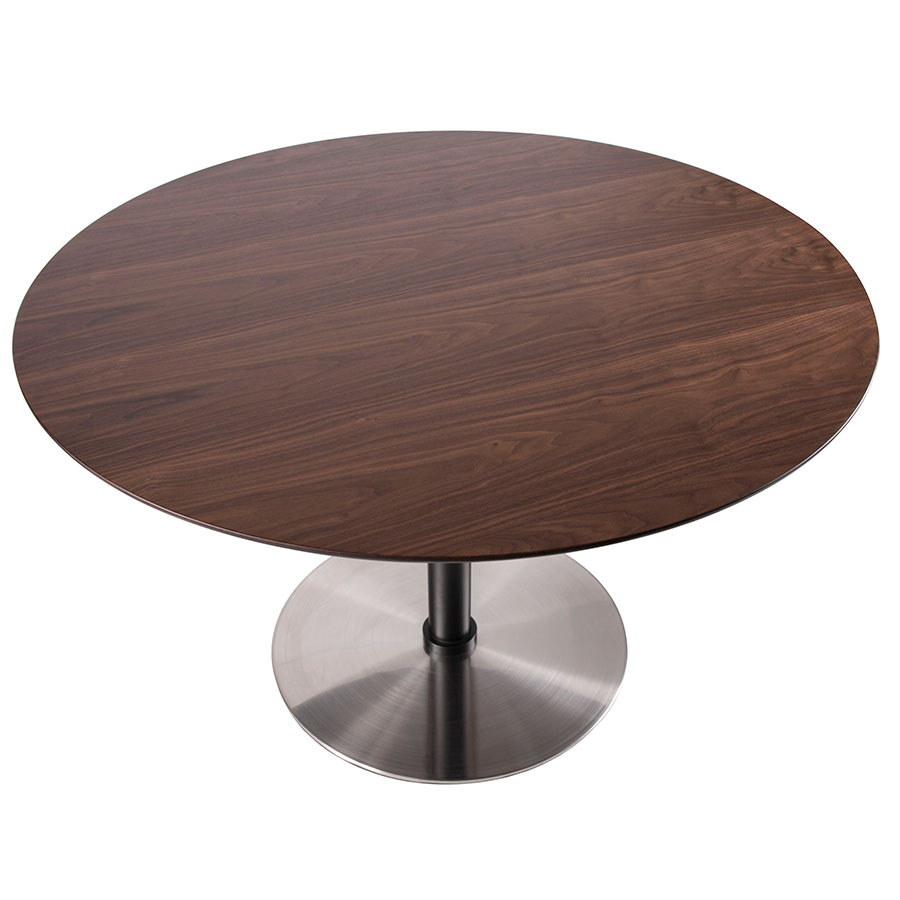 coffee table top view. Dominic Modern Round Walnut Dining Table - Top View Coffee