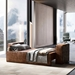 Dominick Modern Leather Sleeper Sofa in Aged Whisky by Modloft Black - Lifestyle With Bedding
