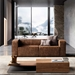 Dominick Modern Leather Sleeper Sofa in Aged Whisky by Modloft Black - Lifestyle Front