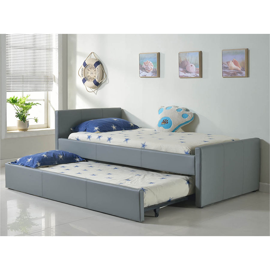 ... Dooley Gray Leatherette Modern Kidu0027s Upholstered Trundle Bed