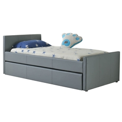 Dooley Gray Leatherette  Modern Kids Trundle Bed