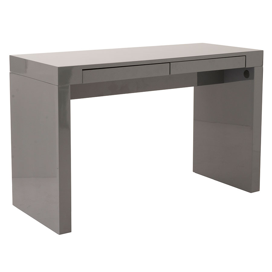Downey Modern Desk in Gray High Gloss Lacquer