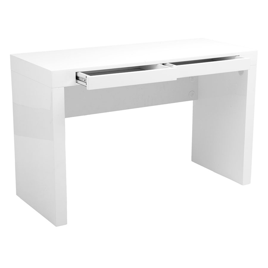 Downey Modern High Gloss White Desk Drawers Open
