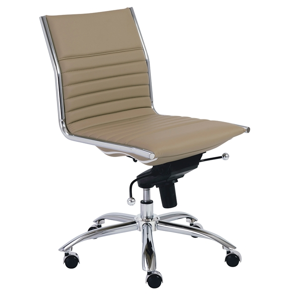 Drake Taupe Contemporary Armless Office Chair