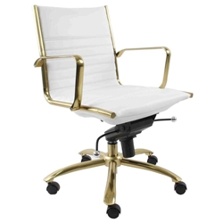 Drake White Leatherette + Brushed Gold Steel Modern Low Back Office Chair