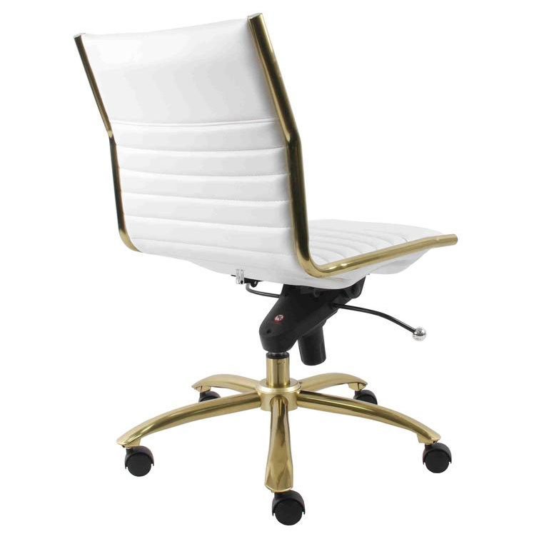 drake modern white gold armless office chair eurway