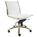 Drake White Leatherette + Brushed Gold Steel Contemporary Task Chair