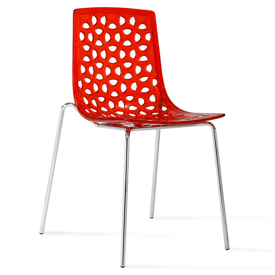 Modern dining chairs drang red side chair eurway for Red modern dining chairs
