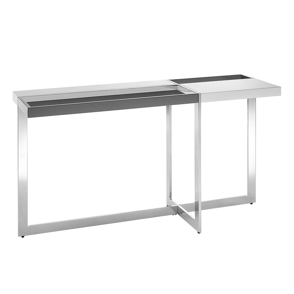 Drastic White + Glass + Metal Modern Console / Sofa Table