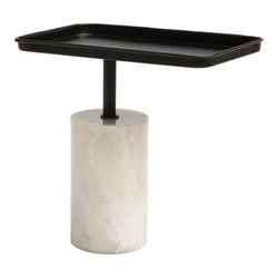 Dromgould White Marble Base + Metal Top Modern Side Table