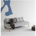 Dual Armless Sleeper Sofa in Light Blue