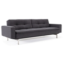 Dublexo Sleeper Sofa with Arms in Anthracite + Stainless Steel