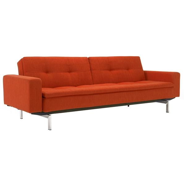 Dublexo Sleeper Sofa with Arms in Paprika + Stainless Steel