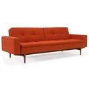 Dublexo Sleeper Sofa with Arms in Paprika and Wood Legs