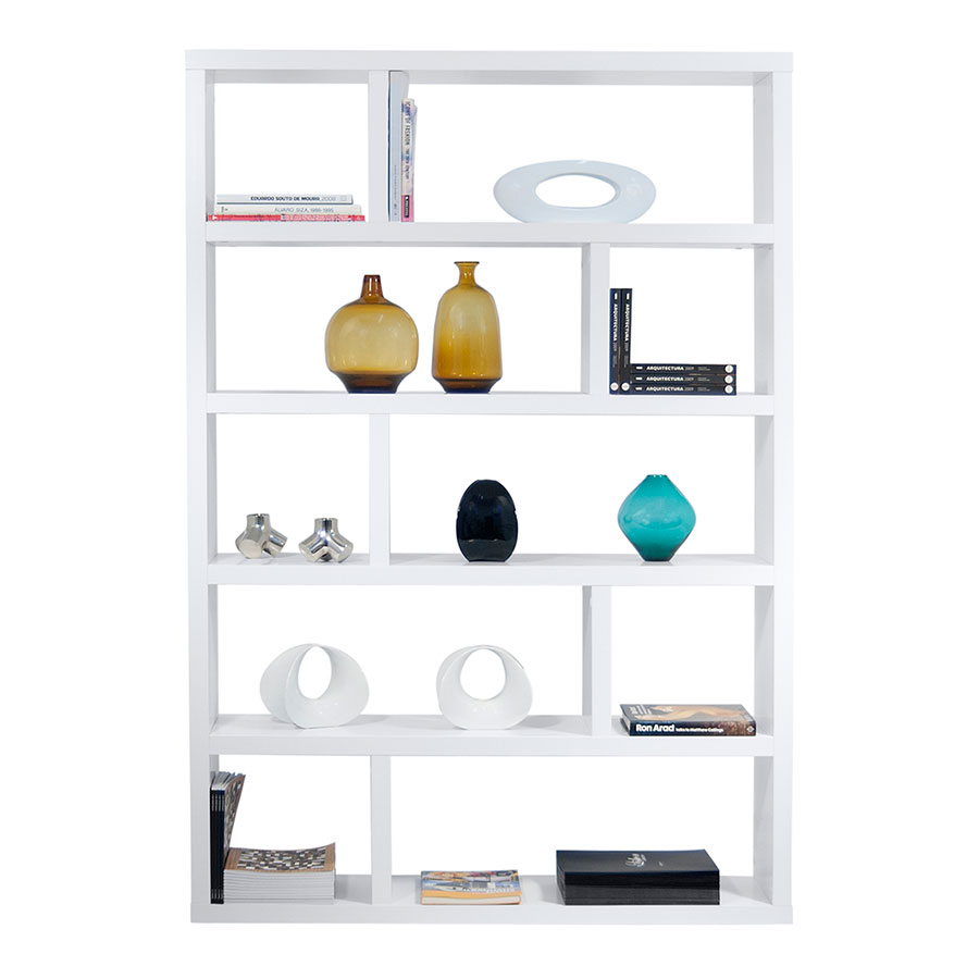 Dublin Tall White Modern Bookcase By TemaHome