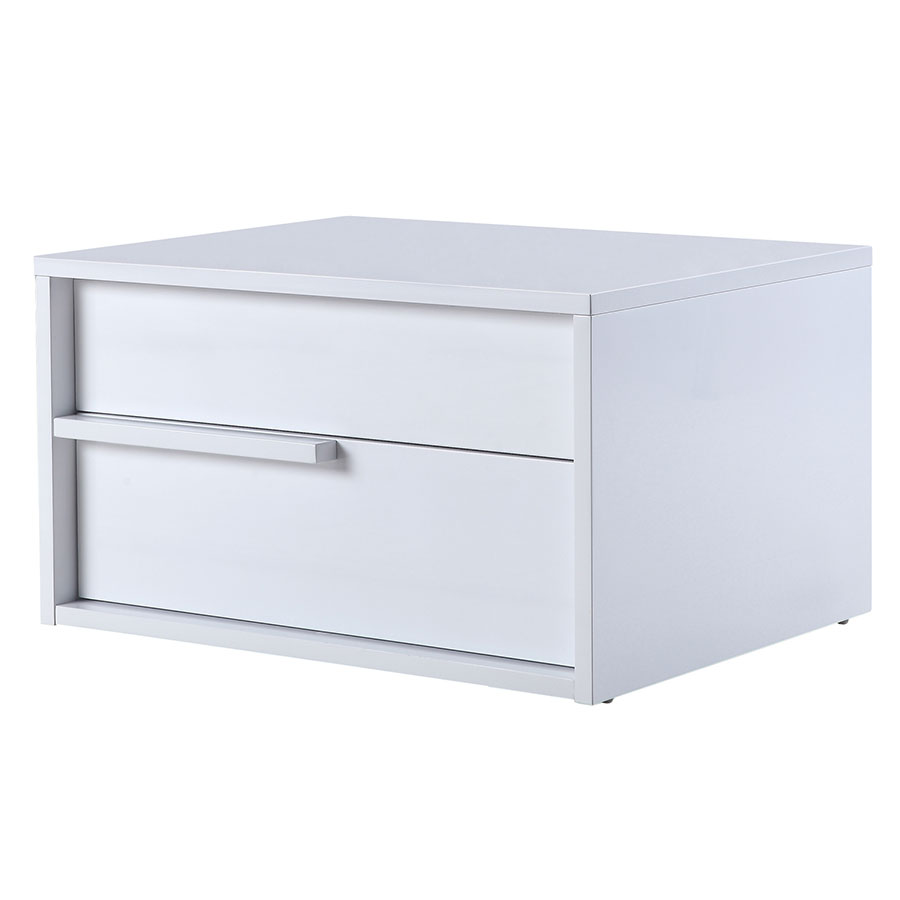 Dulce leftside white nightstand end table eurway for White nightstand table