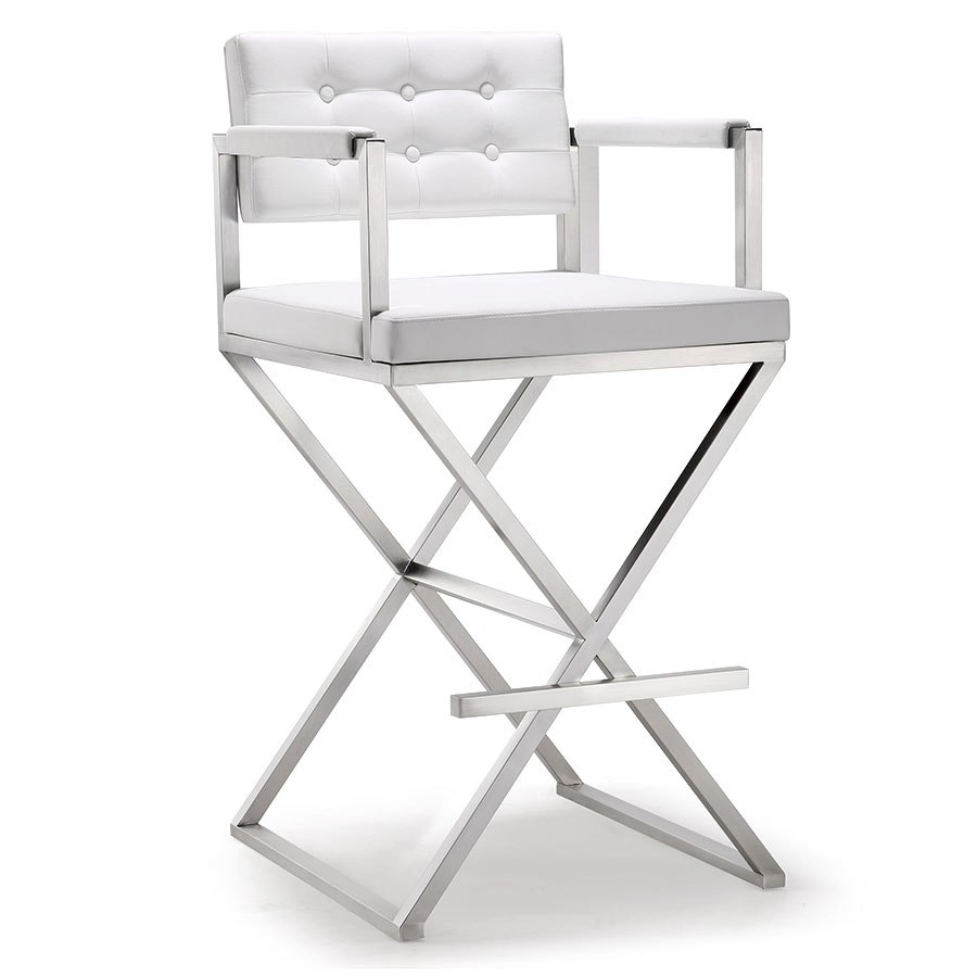 Duncan Modern White Bar Height Stool