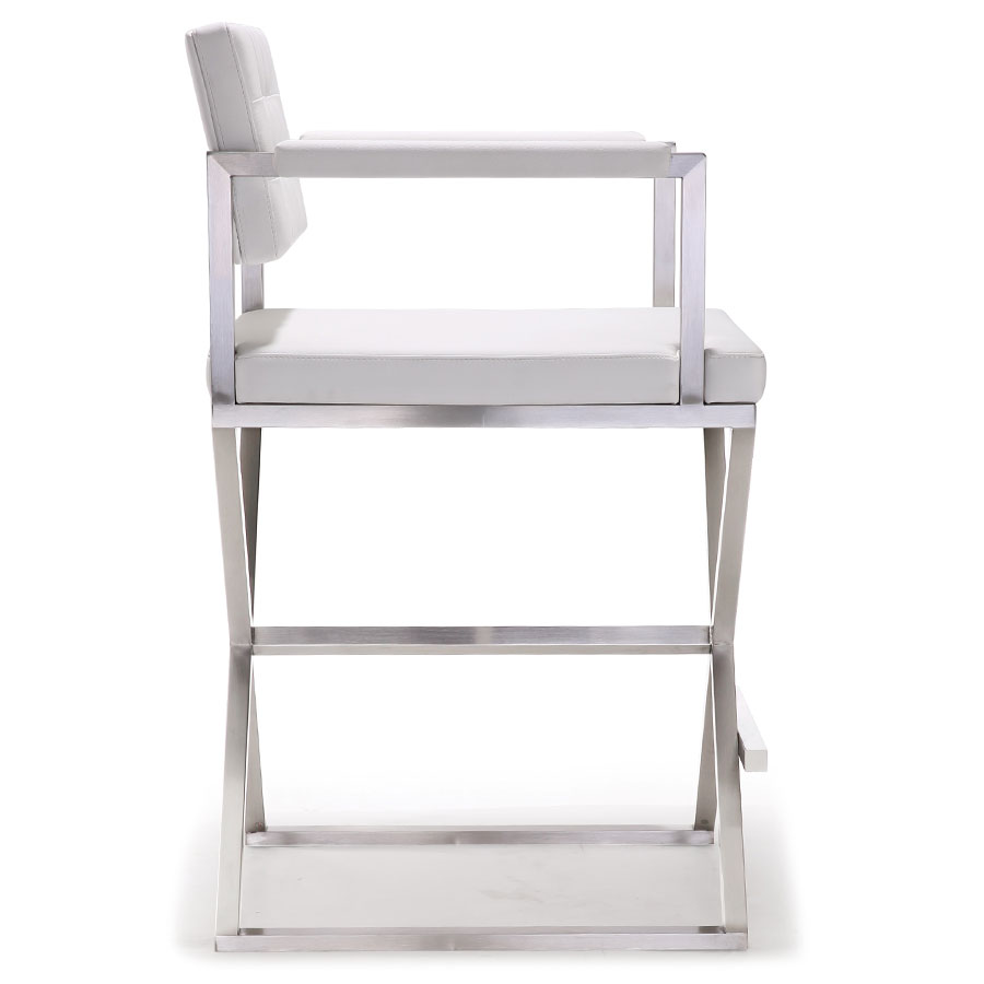 Duncan Modern White Counter Stool - Side View