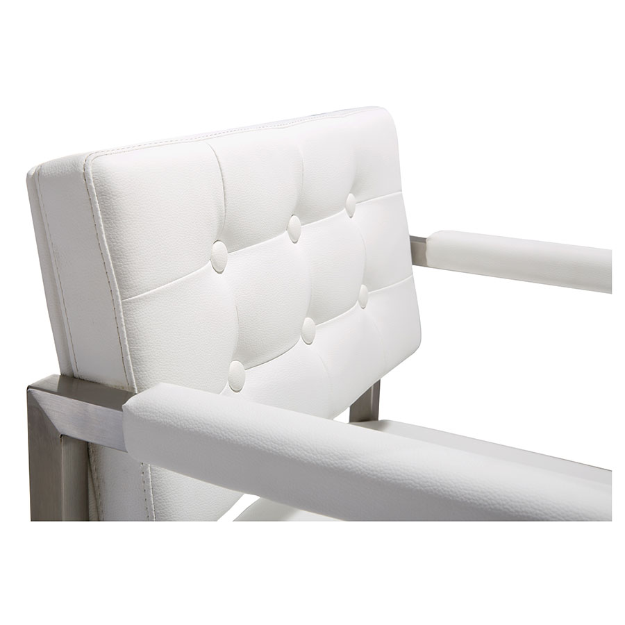 Duncan Modern Stool in White and Stainless - Button Detail