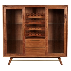 Durango Modern Walnut Bar Cabinet + Wine Rack