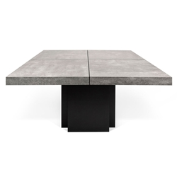 "Dusk 51"" Concrete Finish Top Square Modern Dining + Work Table"